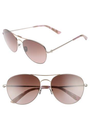 Women's Calvin Klein 57Mm Aviator Sunglasses - Satin Nickel/ Rose Gold