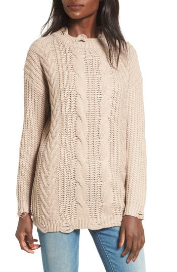 Women's Dreamers By Debut Distressed Cable Knit Sweater at NORDSTROM.com