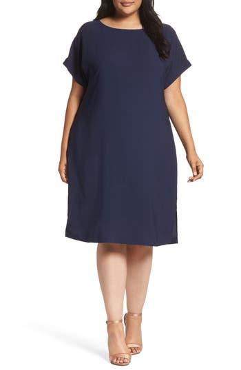 Plus Size Sejour Keyhole Back Shift Dress, Blue