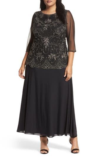 Plus Size Pisarro Nights Embellished Mock Two-Piece Gown, Black
