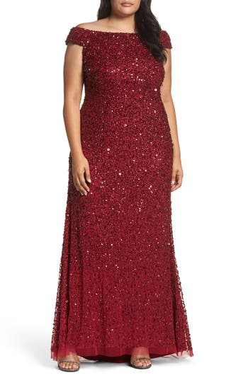 Plus Size Adrianna Papell Beaded Mesh Off The Shoulder Gown, Red