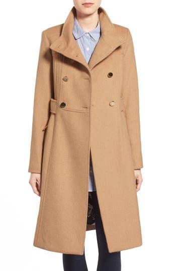 Women's Eliza J Wool Blend Long Military Coat, Size 14 - Beige