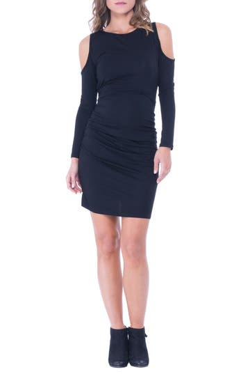 Olian Cold Shoulder Ruched Sheath Dress, Black
