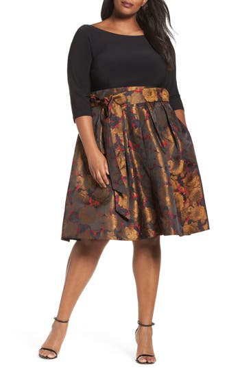 Plus Size Adrianna Papell Mixed Media Fit & Flare Dress, Black