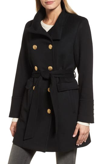 Women's Sofia Cashmere Wool & Cashmere Blend Military Coat, Size 4 - Black