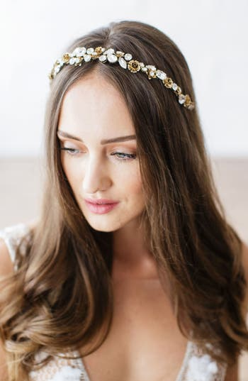 Brides & Hairpins Zarah Flower & Crystal Halo & Sash, Size One Size - Metallic