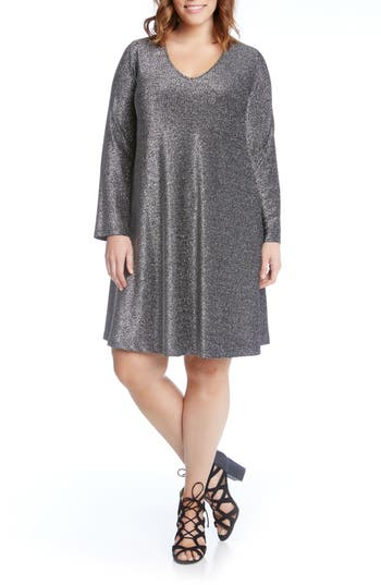 Plus Size Karen Kane Taylor Sparkle A-Line Dress, Metallic