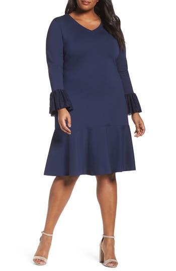 Plus Size Sejour Flounce Hem Dress, Blue