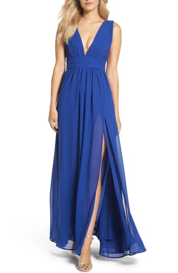 Lulus Plunging V-Neck Chiffon Gown, Blue