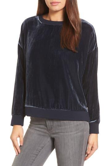Kenneth Cole New York Zipper Velvet Sweatshirt, Blue
