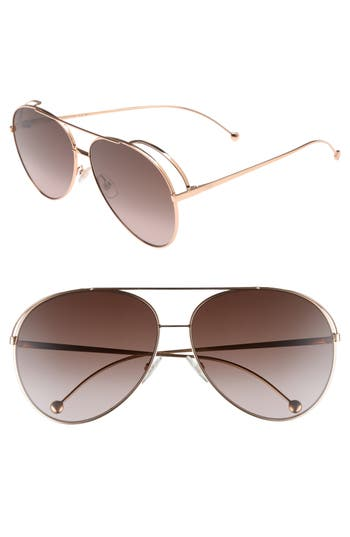 Fendi 52Mm Aviator Sunglasses - Gold Copper