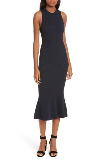 Grey Jason Wu Rib Knit Midi Dress, Blue