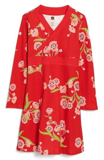 Girl's Tea Collection Rowan Print Wrap Neck Dress, Size 4 - Red