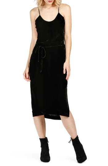 Paige Tressa Velvet Midi Slipdress, Black