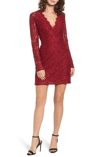 Wayf Say It Out Loud Lace Dress, Red