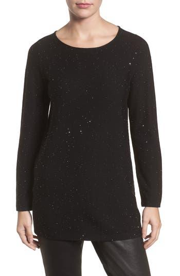 Women's Eileen Fisher Sequin Merino Wool Sweater, Size XX-Small - Black