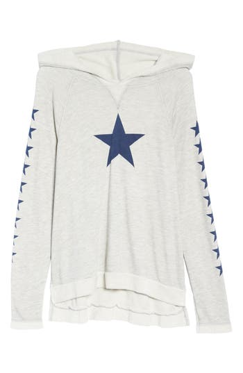 Hard Tail Star Print Hoodie, Grey