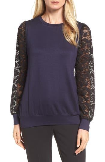 Bobeau Lace Sleeve Sweatshirt, Blue
