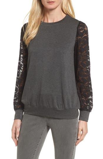 Bobeau Lace Sleeve Sweatshirt, Grey