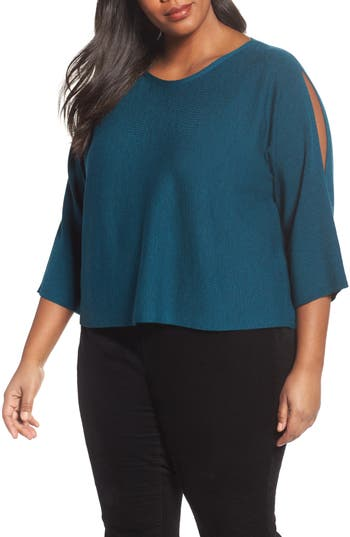 Plus Size Eileen Fisher Crop Merino Wool Sweater, Blue
