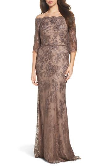 La Femme Off The Shoulder Lace Gown, Brown