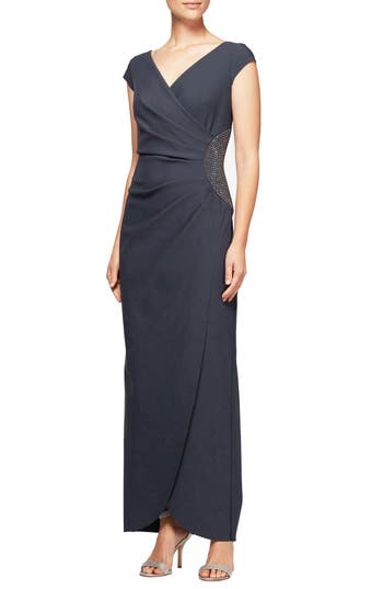Alex Evenings Embellished Faux Wrap Column Gown, Grey