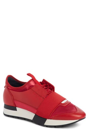 Balenciaga Mixed Media Trainer Sneaker, Red