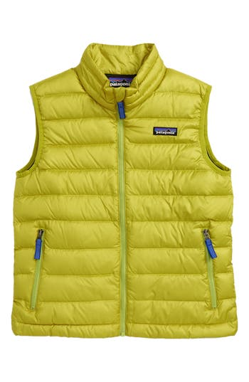 Boy's Patagonia 600-Fill Power Down Windproof & Water Resistant Sweater Vest, Size XS (5-6) - Green