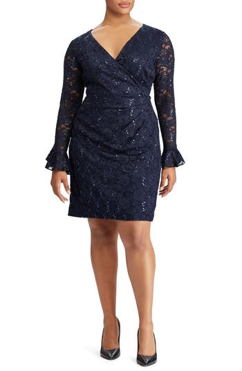 Plus Size Lauren Ralph Lauren Agnes Lace & Sequin Dress, Blue