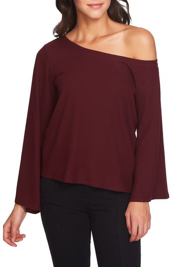 Women's 1.state The Cozy Bell Sleeve One Shoulder Top, Size XX-Small - Burgundy