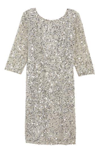 Plus Size Pisarro Nights Draped Back Beaded Dress, Metallic