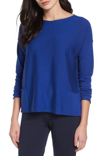 Eileen Fisher Bateau Neck Merino Boxy Top, Blue