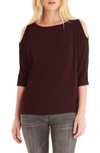 Michael Stars Cold Shoulder Tee, Size One Size - Brown