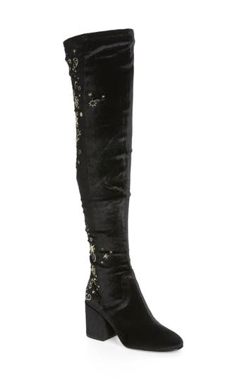 Ash Eros Embroidered Velvet Over The Knee Boot Black