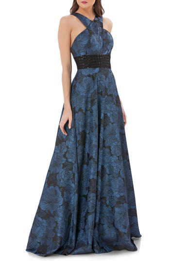 Carmen Marc Valvo Infusion Jacquard Halter Gown, Blue