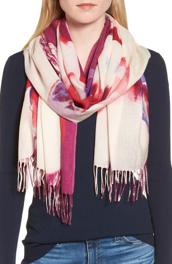 Women's Nordstrom Tissue Print Wool & Cashmere Wrap Scarf, Size One Size - Purple