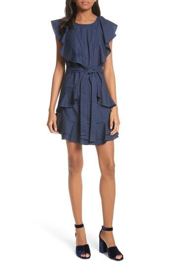 Joie Malachy Ruffle Dot Cotton Dress, Blue