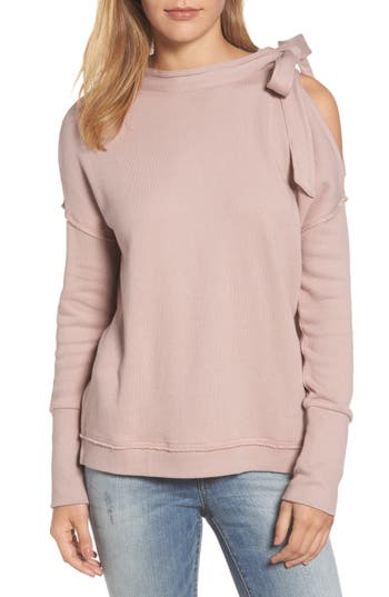 Caslon Tie Cold Shoulder Sweatshirt, Pink
