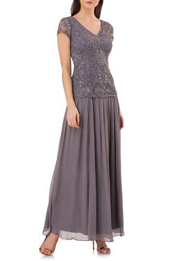 Js Collections Soutache Applique Gown, Grey