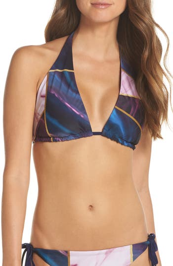 Ted Baker London Balmoral Marble Reversible String Bikini Top, Blue