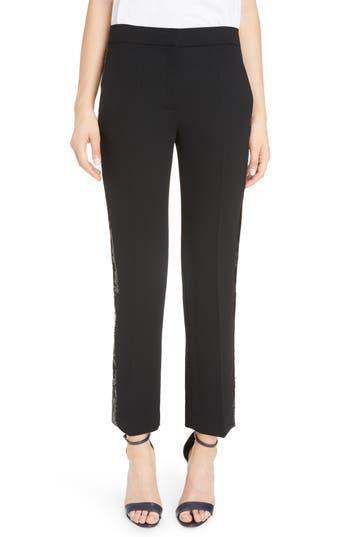 Women's Victoria, Victoria Beckham Sequin Stripe Straight Leg Pants, Size 4 US / 8 UK - Black
