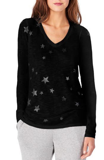 Michael Stars V-Neck Star Print Tee, Size One Size - Black