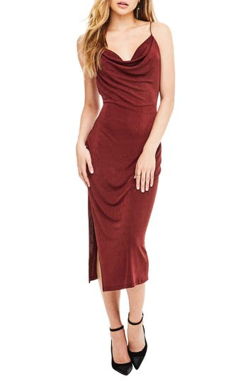 Astr The Label Ivana Midi Dress, Burgundy