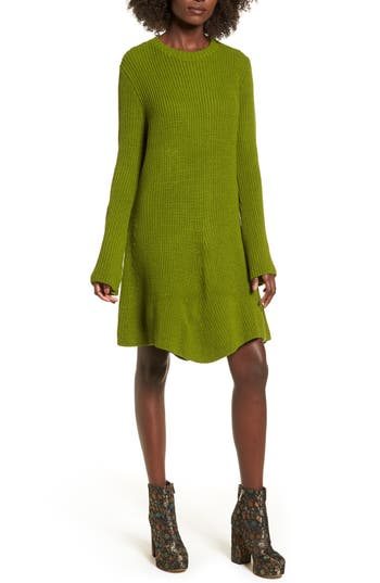 Cotton Emporium Flared Sleeve Sweater Dress, Green