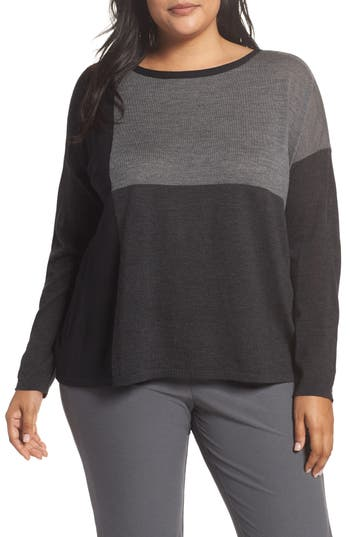 Plus Size Eileen Fisher Colorblock Boxy Merino Wool Sweater, Grey