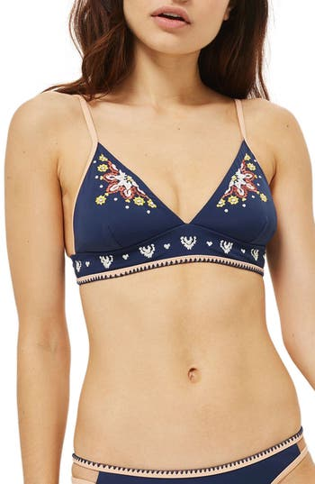 Topshop Embroidered Longline Bikini Top, US (fits like 6-8) - Blue