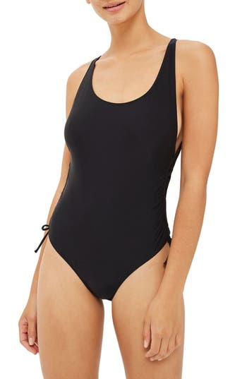 Topshop Side Ruched One-Piece Swimsuit, US (fits like 0) - Black