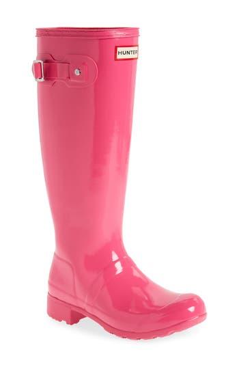 Women's Hunter Original Tour Gloss Packable Rain Boot, Size 6 M - Pink