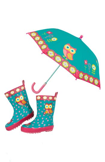Girls Stephen Joseph Owl Rain Boots  Umbrella Set