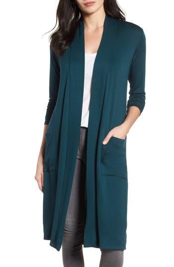 Women's Bobeau Elegant Fleece Cardigan, Size Small - Green